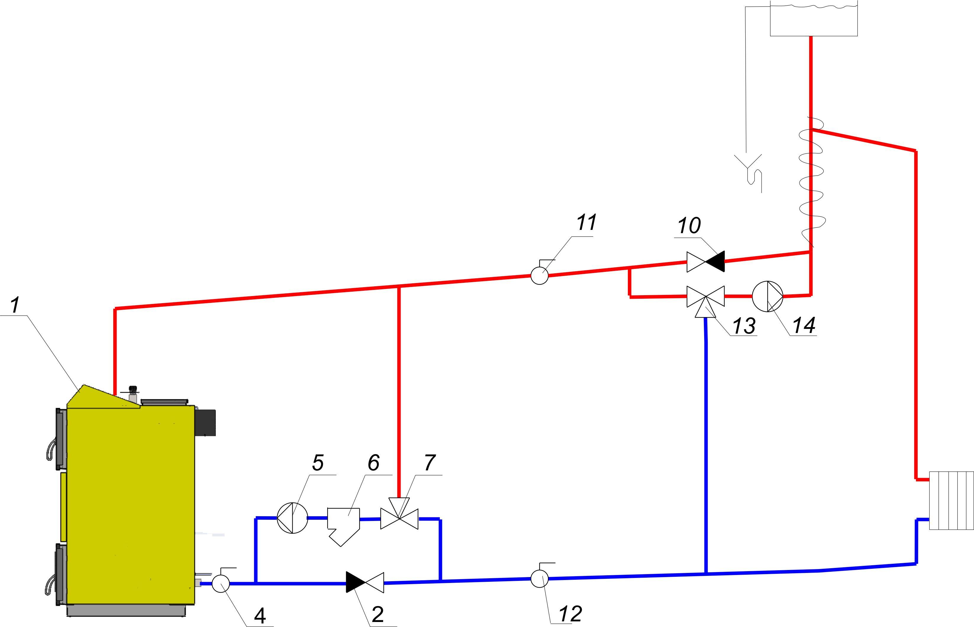 Схема обвязки трехходового клапана фото 905